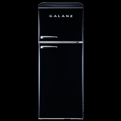 Galanz - Galanz 10 Cu Ft Retro Top Mount Refrigerator in Vinyl Black