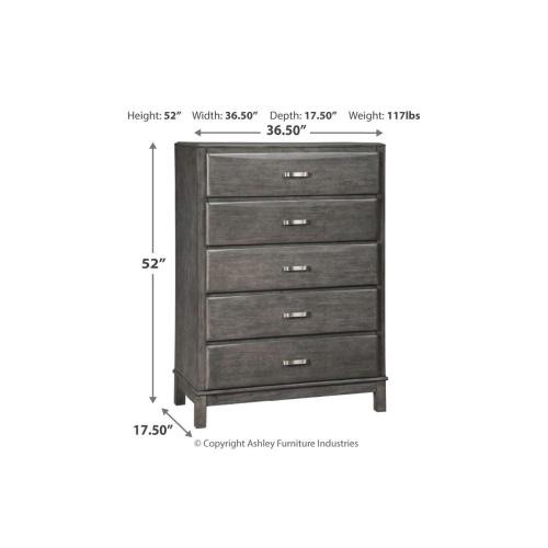 Caitbrook Five Drawer Chest Gray