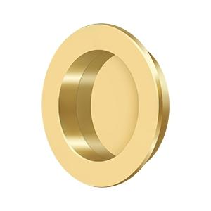 "Flush Pull , Round, HD, 2-3/8"", Solid Brass - PVD Polished Brass"