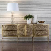 Crinkle Long Cabinet-Brass/Bronze