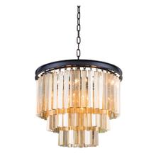 Sydney 9 light Matte Black Chandelier Golden Teak (Smoky) Royal Cut Crystal