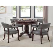 Tournament 6 Piece Dining/Game Table Set - Gray Chairs (Dining Table, Brown Game Top, & 4 Captain's Chairs)