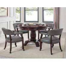 View Product - Tournament 6 Piece Dining/Game Table Set - Gray Chairs (Dining Table, Brown Game Top, & 4 Captain's Chairs)