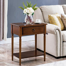 See Details - Pecan Coastal Nightstand/Side Table with AC/USB Charger #20022-PC