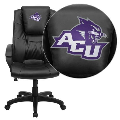 Abilene Christian University Wildcats Embroidered Black Leather Executive Office Chair