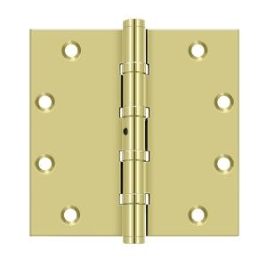 "5"" x 5"" Square Hinges, Ball Bearings - Polished Brass"