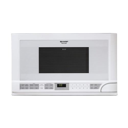1.5 cu. ft. 1100W White Sharp Over-the-Counter Carousel Microwave Oven