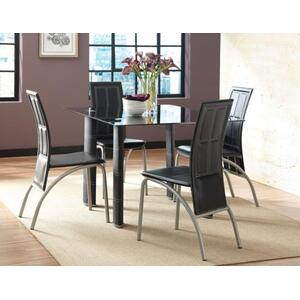 Calvin 5 Piece Set(Black Glass Top Table & 4 Side Chairs)