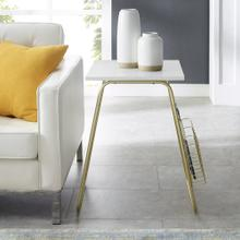 View Product - Modern Side Table with Wire Rack - Faux Marble