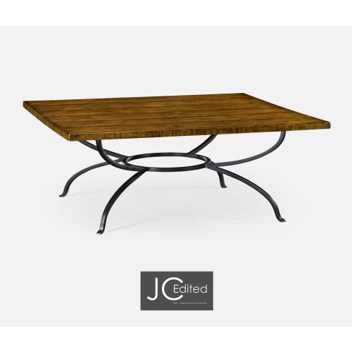 Country Walnut Panelled Square Coffee Table