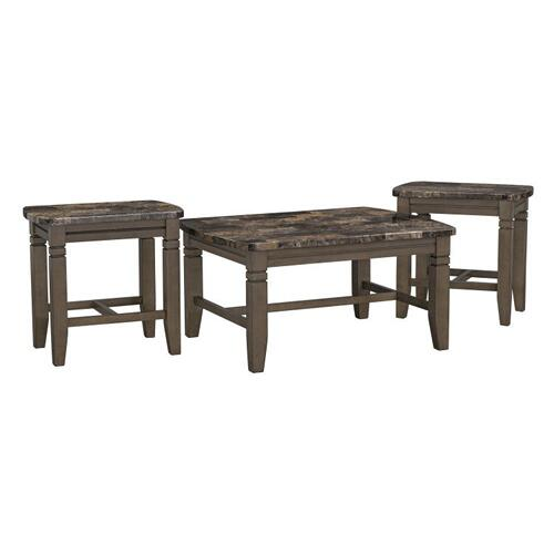 Burroughs Brown Occasional Table, 3-Pack Set