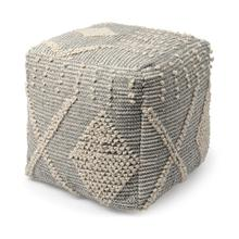 Brinket Gray/Cream Polyester Handwoven Square Pouf