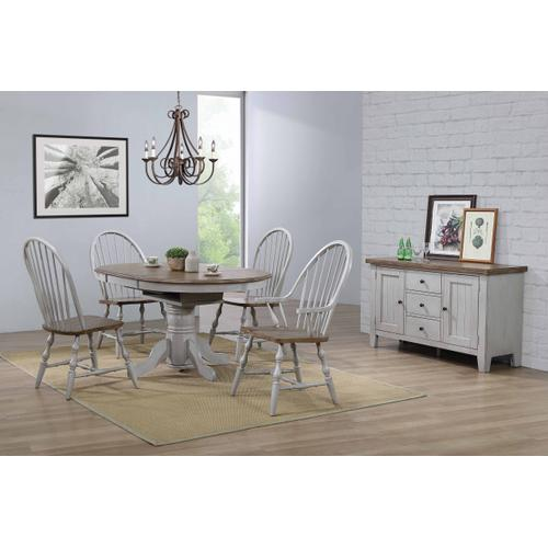 Round or Oval Extendable Dining Table Set - Distressed Gray & Brown (4 Piece)