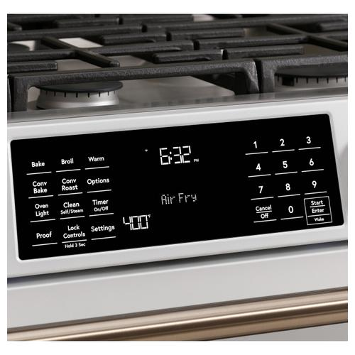 """Cafe - Café™ 30"""" Smart Slide-In, Front-Control, Gas Range with Convection Oven in Platinum Glass"""