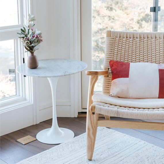 """New Pacific Direct - Allie 20"""" Round Table, White Marble"""