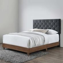 Rhiannon Diamond Tufted Upholstered Performance Velvet Queen Bed in Walnut Charcoal