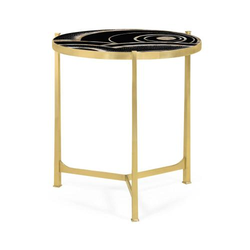 Large Solid Brass & Eggshell & Laquer Top Round Lamp Table
