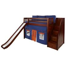 See Details - Mid Loft Bed with Staircase on End, Slide, Top Tent & Underbed Curtains