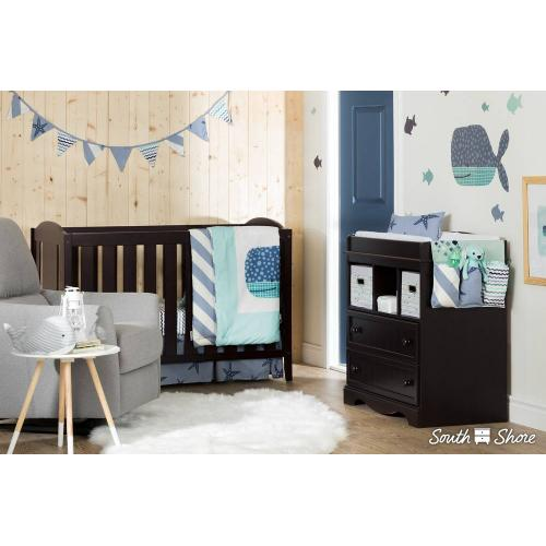 Little Whale 3-Piece Baby Crib Bed Set and Pillow - Blue