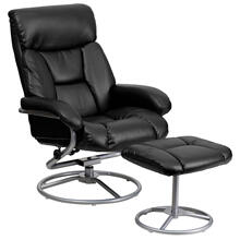 See Details - Contemporary Multi-Position Recliner and Ottoman with Metal Base in Black LeatherSoft