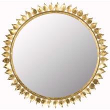 Leaf Crown Sunburst Mirror - Antique Gold