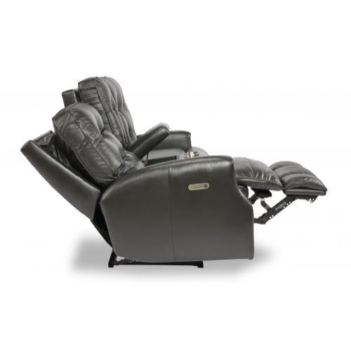 Devon Power Reclining Loveseat with Console & Power Headrests