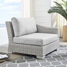 Conway Sunbrella® Outdoor Patio Wicker Rattan Right-Arm Chair in Light Gray Gray