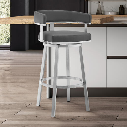 """Lorin 26"""" Gray Faux Leather and Brushed Stainless Steel Swivel Bar Stool"""