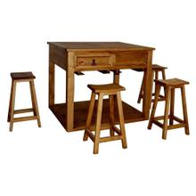 See Details - Kitchen Island with 4 Bar Stools