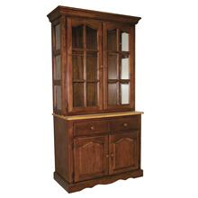 Keepsake Buffet and Lighted Hutch - Nutmeg and Light Oak