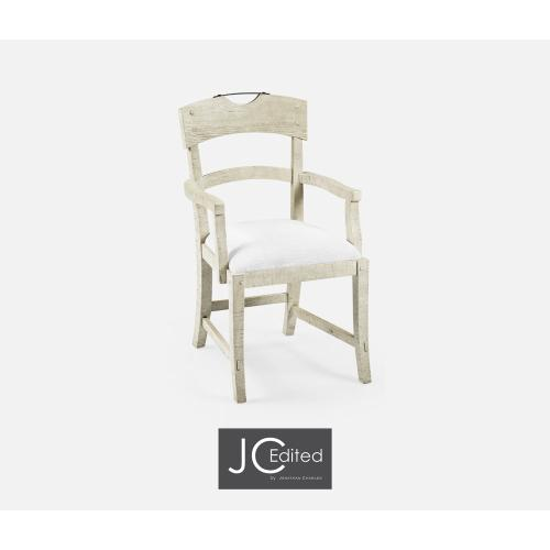 Planked Whitewash Driftwood Dining Arm Chair, Upholstered in COM