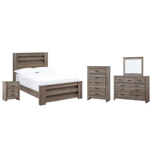 Ashley - Full Panel Bed With Mirrored Dresser, Chest and Nightstand
