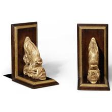 Pair of walnut bookends with gilded leaf design