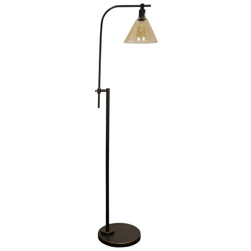 Madison Bronze  Adjustable Height Task Floor Lamp with Glass Shade  Edison Bulb Included