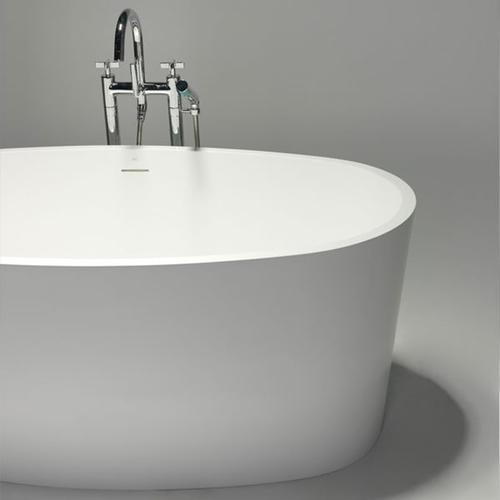 "Blu Bathworks - coco blustone™ freestanding oval bathtub White gloss 59""x31 1/2""x23 1/2"""