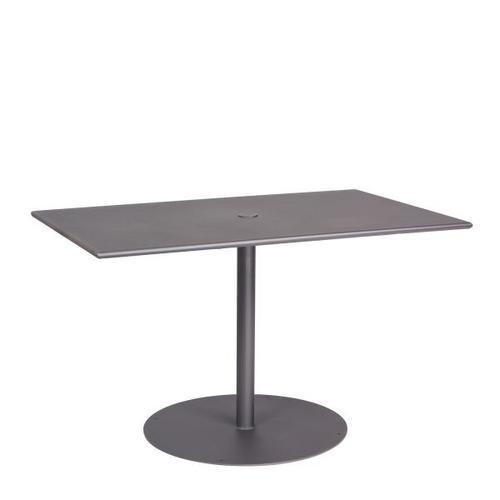 "Woodard Furniture - Solid Iron 48"" x 30"" Rectangular ADA Umbrella Table with Pedestal Base"