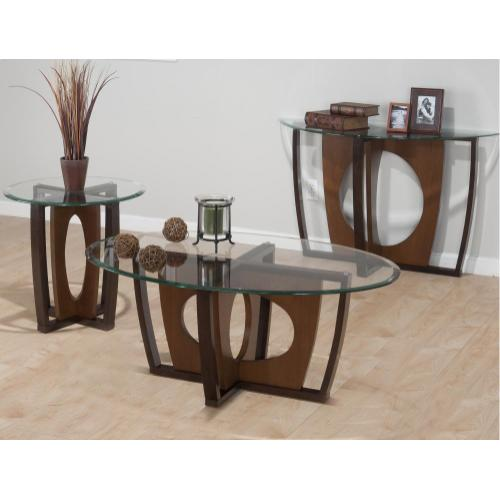 Elipse Cherry Sofa Table Concentric Circle Base