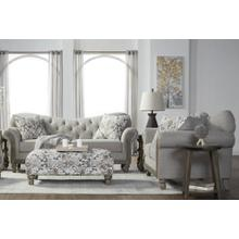 Metropolitan Fabric Tufted Sofa and Loveseat Set in Sandstone with Cocktail Ottoman