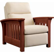See Details - Wall Recliner Bustle Back Upholstery, Oak Bow Arm Morris Recliner
