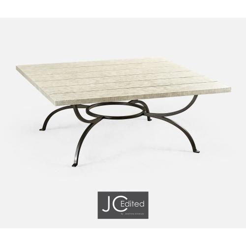 White Wash Driftwood Panelled Square Coffee Table