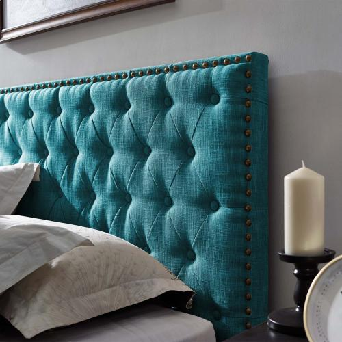 Modway - Helena Tufted Full / Queen Upholstered Linen Fabric Headboard in Teal