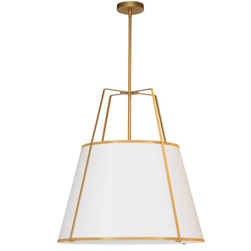 3lt Trapezoid Pendant Gold/ White Shade W/790 Diff