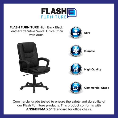 Gallery - High Back Black Leather Executive Swivel Office Chair with Arms