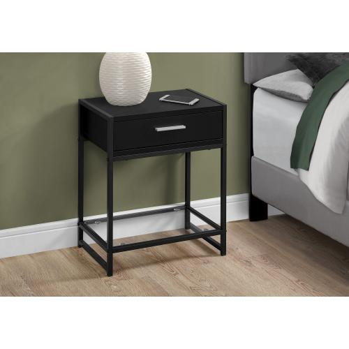"""Gallery - ACCENT TABLE - 22""""H / BLACK / BLACK METAL/ TEMPERED GLASS"""