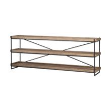 Trey I 80L x 16W Brown Wood and Black Iron Console Table