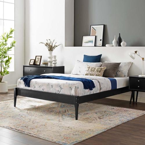 June Queen Wood Platform Bed Frame in Black