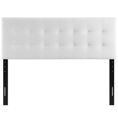 Lily Queen Biscuit Tufted Performance Velvet Headboard in White