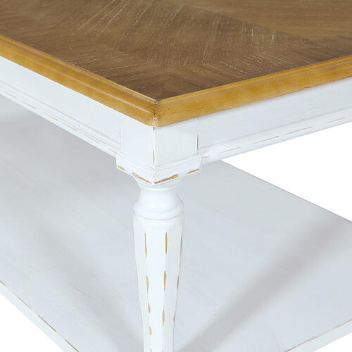 Medford Coffee Table- White Distressed Frame With Natural Veneer Top