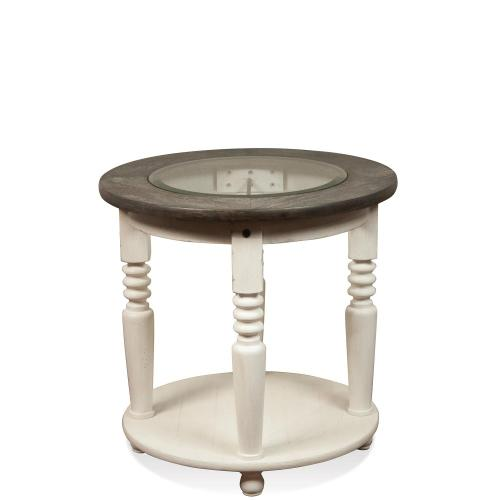 Round Side Table - Chalk/charcoal Finish