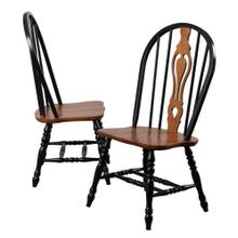 DLU-124-S-BCH-2  Keyhole Dining Chair  Antique Black with Cherry Seat